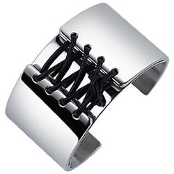 Zoppini Zo-Dark Corset Lacing Stainless Steel Cuff Bracelet