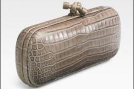Bottega Veneta Ash Elongated Croc Clutch