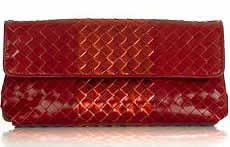 bottega veneta intrecciato red leather clutch