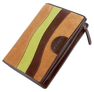 Bric\'s Margherita Cognac Patchwork Suede and Leather ID Wallet
