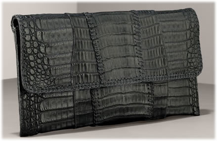 Carlos Falchi Crocodile Envelope Clutch