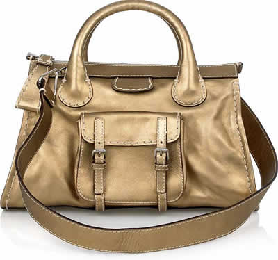 Chloe Gold Metallic Edith Tote