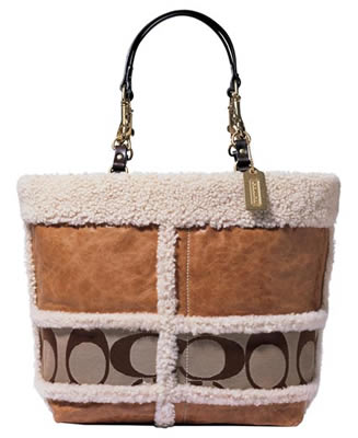 Coach Signature Stripe Shearling Tote