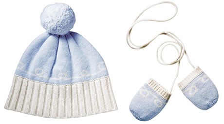 Coach Baby Pom Pom Hat and Coach Baby Mittens