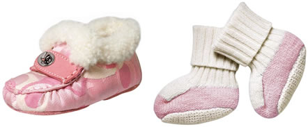 Coach Optic Signature Shearling Baby Slippers and Coach Baby Booties