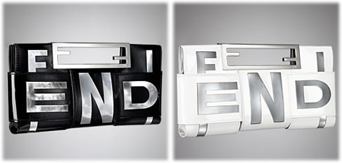 Fendi Crossword Patent Clutch