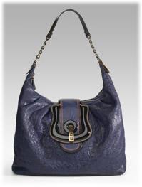 Fendi Pebbled Leather Hobo Handbag