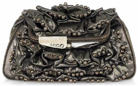 Fendi Ruched Beaded Clutch