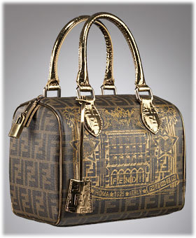 Fendi Zucca Leather Boston Bag with Palazzo Print