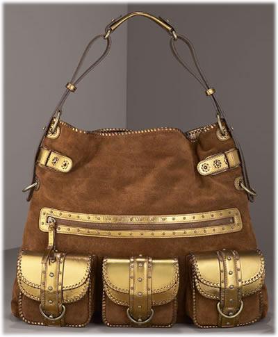 Ghurka Suede and Leather Pocket Hobo, Large