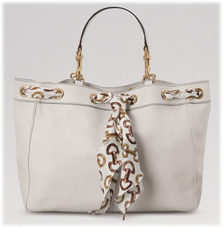 Gucci Medium White Leather Tote
