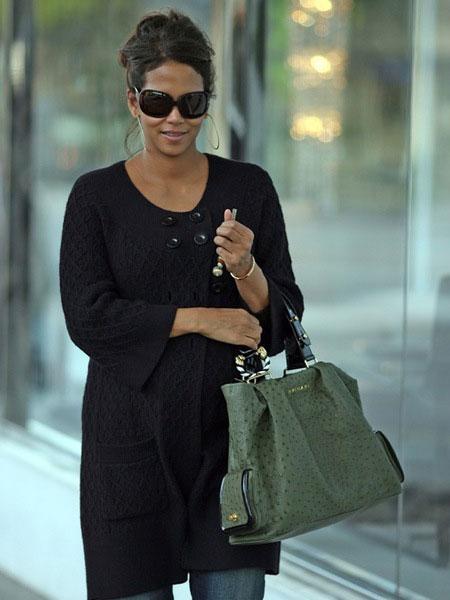 Halle Berry Style Bulgari Ostrich Bag