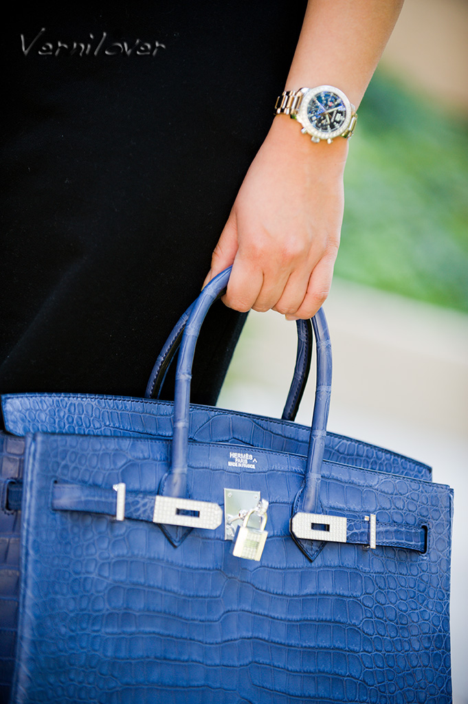 9282af2247d8 Meet the 35 centimeter Hermes Birkin in Matte Poro Crocodile in Blue  Brighton with Diamond-encrusted Hard ...