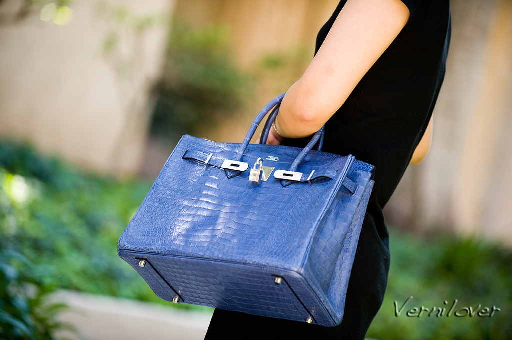 00a47ee065 Meet the 35 centimeter Hermes Birkin in Matte Poro Crocodile in Blue  Brighton with Diamond-encrusted Hard ...