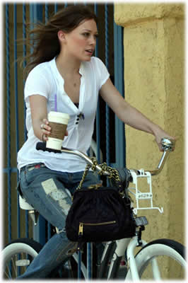 Hilary Duff Biking