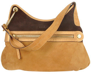 Hogan Camel and Brown Suede and Leather Hobo Bag