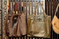 Jane August FDR Tote, brown python ($3,080) and green deco leather