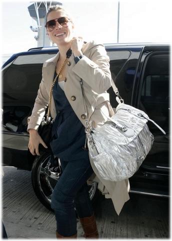 Jessica Biel Prada Silver Gauffre Bag