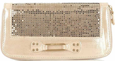 Jimmy Choo Unity Metallic Mesh Continental Wallet