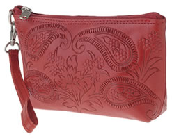 Leaders in Leather Red Tooled cosmetic Bag