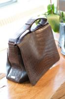 LT Wright Mailbag in espresso crocodile and luxe grain - $9,900