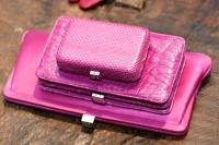LT Mini Margo in orchid snakeskin - $595, Dietrich in orchid crocodile - $3,200, Framed Clutch in orchid satin - $745