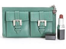 Luella Leather Clutch Wallet Green