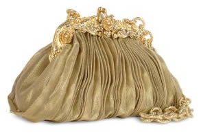 Maddalena Marconi Gold Pleated Organza Silk Evening Bag