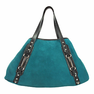 Maschera Petrol Green Suede & Black Leather Satchel