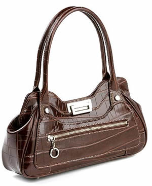 Maxx New York Small Faux-Crocodile Athena Satchel