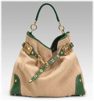 Miu Miu Burlap Leather Drawstring Satchel