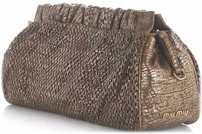 Miu Miu Honeycomb Metallic Clutch