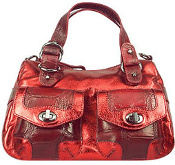Nuovedive Metallic Wine Red Satchel Handbag