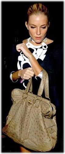 Sienna Miller YSL Ostrich Rive Gauche Bag