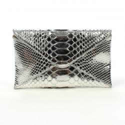 ted rossi python clutch silver