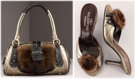 Valentino Mink Trim Shoes and Handbag