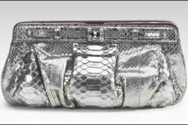 Zagliani Metallic Python Clutch